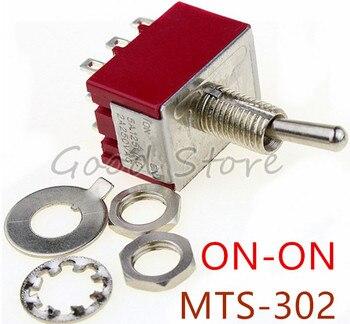 Mini MTS-302 rojo 6mm 9 Pin 2 Posición ON/ON 5A/125VAC 2A/250VAC interruptor de palanca