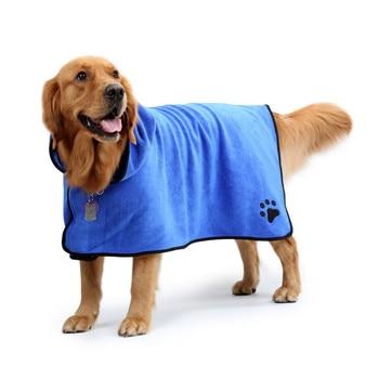 Photo : Peignoir bleu de boxer pour chien - profil