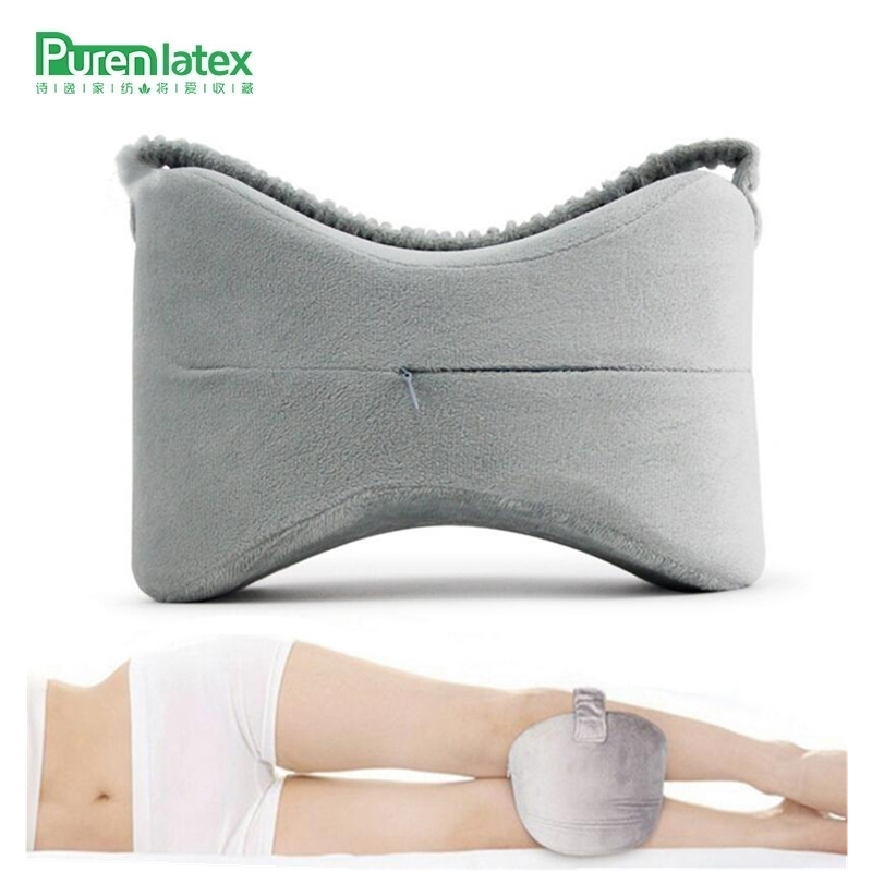 PurenLatex Knee Leg Pregnancy Sciatic Bed Pillow Orthopedic Nerve Pain Relief Groove Pillow Memory Foam Wedge Legs Cushion Pad