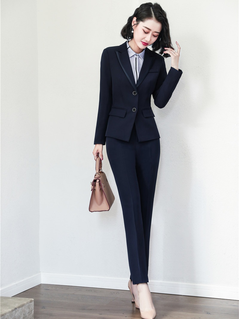 Back To Search Resultswomen's Clothing Pant Suits Formal Women Pant Suits Blazer And Pant Sets Ladies Work Wear Suits Navy Blue Office Uniform Styles