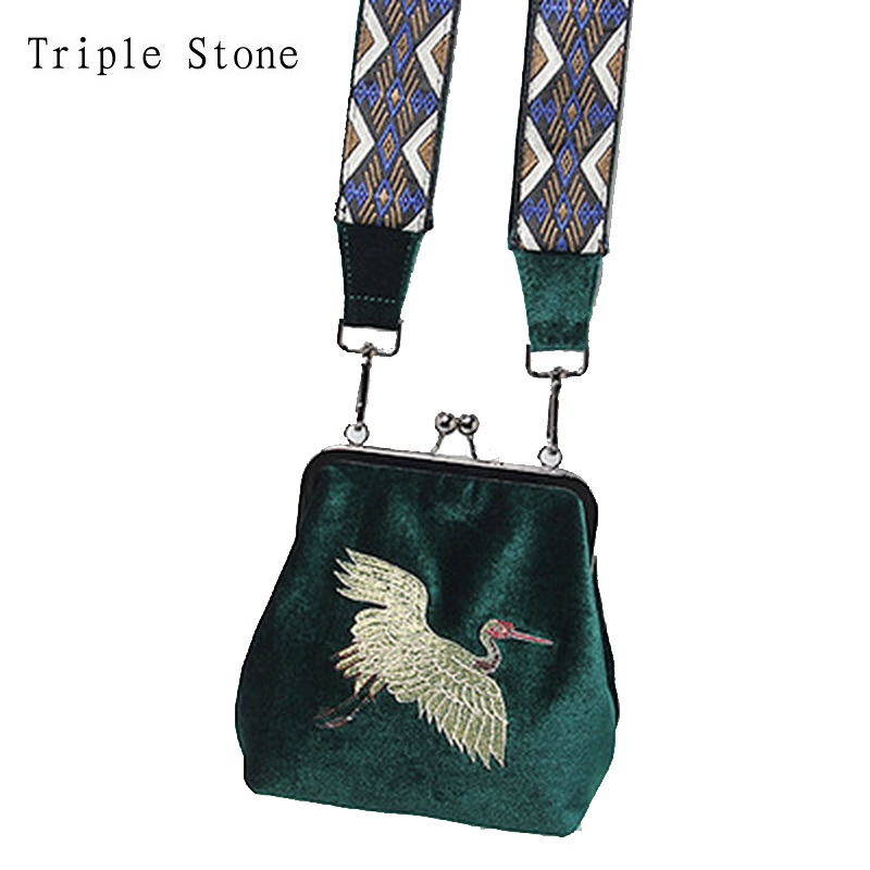Triple Stone Velvet Clips Flap Purse Handbag National Wide Ethnic Shoulder Straps Shoulder Bag Vintage Embroidery Cranes Clutch