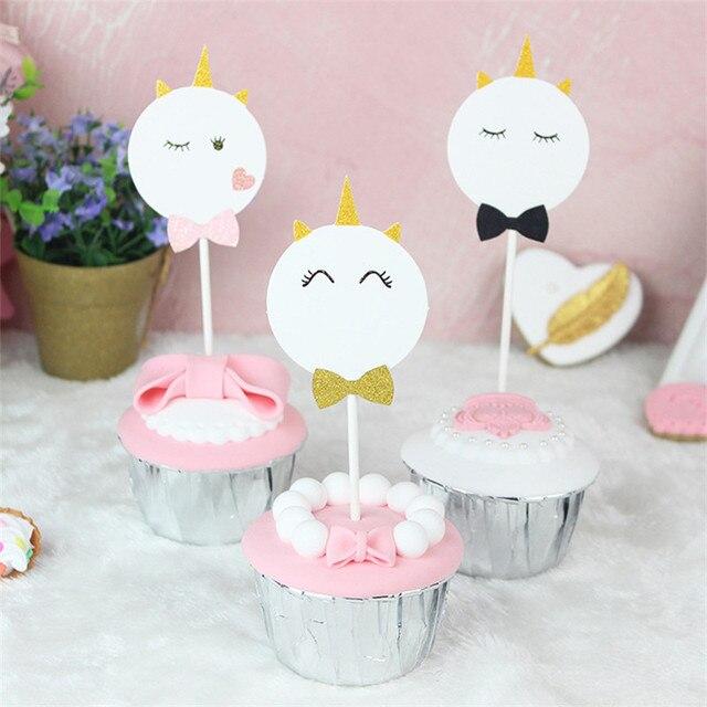 3PcsSet Cute Glitter Smell Unicorn Cake Topper Happy Birthday Cake
