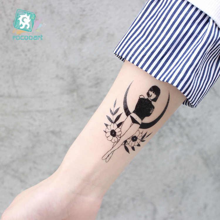 Rocooart bonitas para chicas tatuaje falso Naruto Flash Taty para arte corporal para mujer tatuaje temporal a prueba de agua pegatinas tatuaje negro Tatuagem