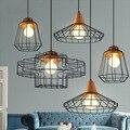 Винтажный железный подвесной светильник в стиле ретро  Droplight  бар для кафе  спальни  ресторана  металлическая клетка  светодиодная лампа AC110V/...