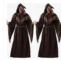 MOONIGHT Halloween Costumes Adult Mens Gothic Wizard Costume European Religious Men Priest Uniform Fancy Cosplay Costume