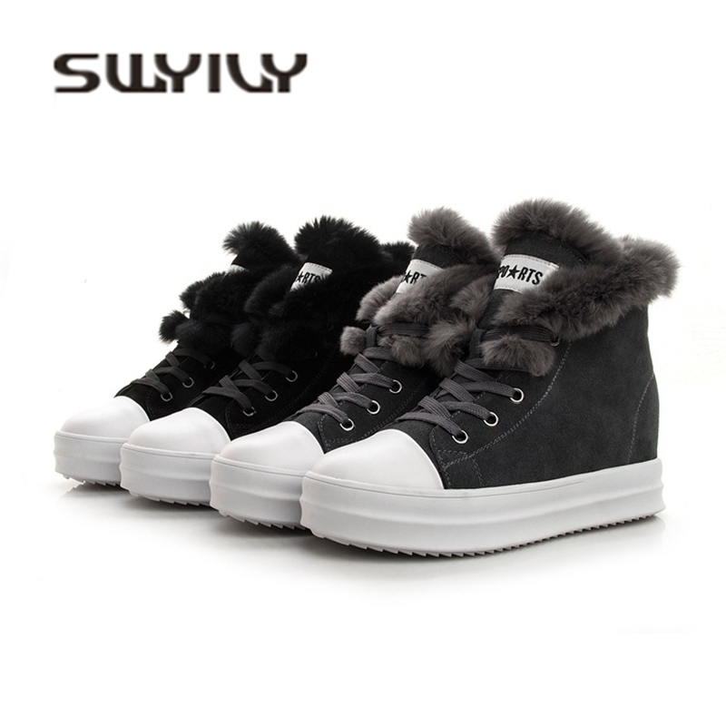 SWYIVY Women s Sneakers High Top Genuine Leather Ladies Shoe 2019 Winter Warm Casual Shoes Woman