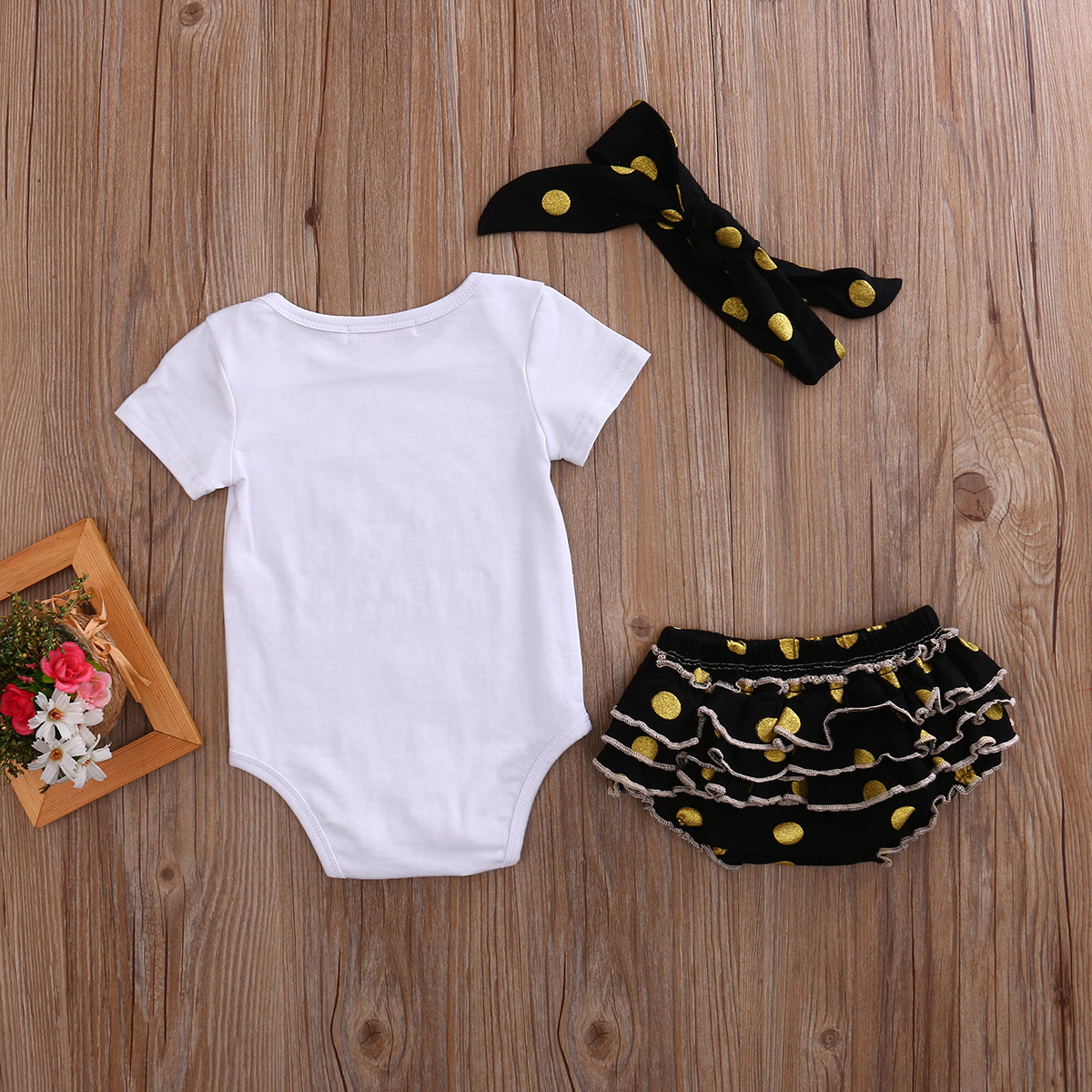 Pudcoco 3pcs Newborn Baby Girl Clothes Summer Short Sleeve O-Neck Bodysuit Dot Ruffle Shorts Outfits Set 0-12 Months Helen115