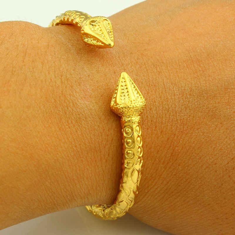 """רחב 6 מ""""מ פתיח צמידי זהב לנשים/גברים צבע זהב תכשיטי צמיד צמיד האתיופית/אפריקה/ערבית מתנה"""