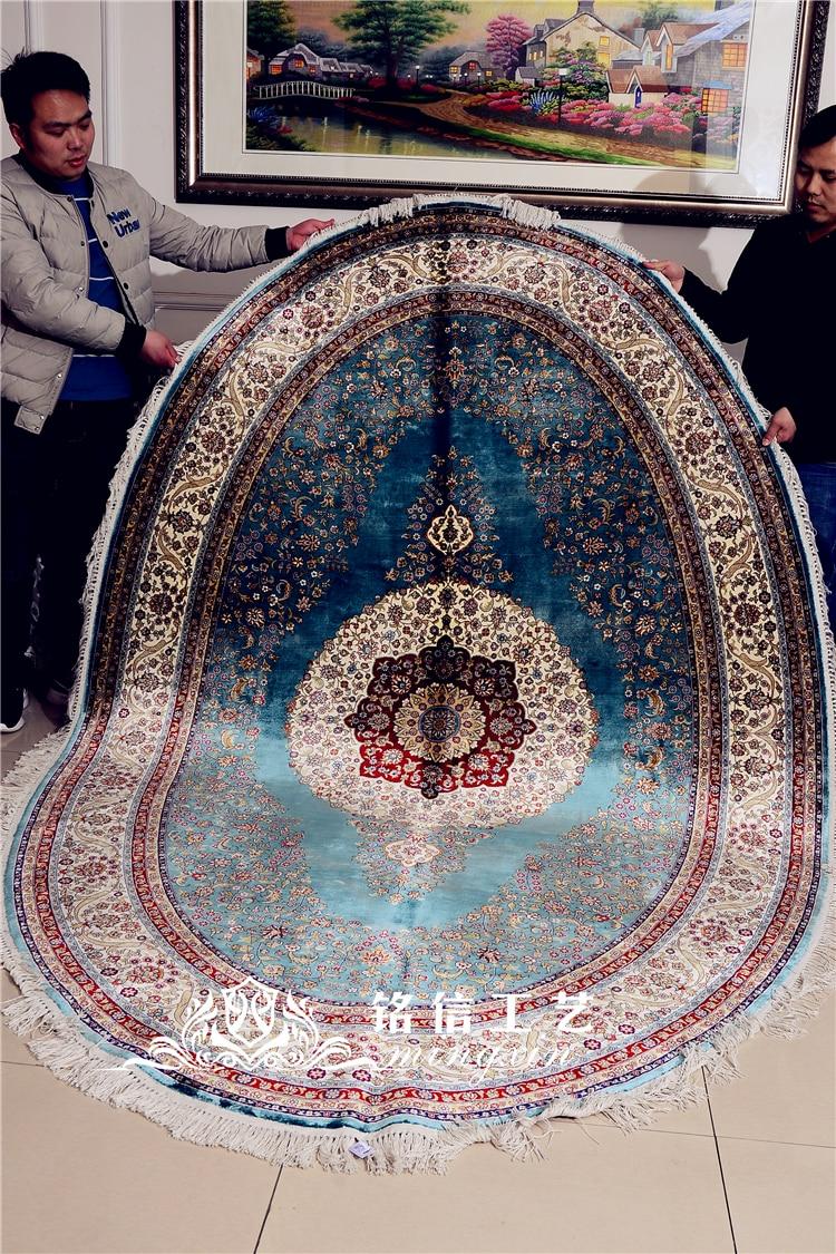 Tapis en soie fait main bleu 6'x9 'tapis en soie noués à la main de fleur persane ovale pour le salon - 6