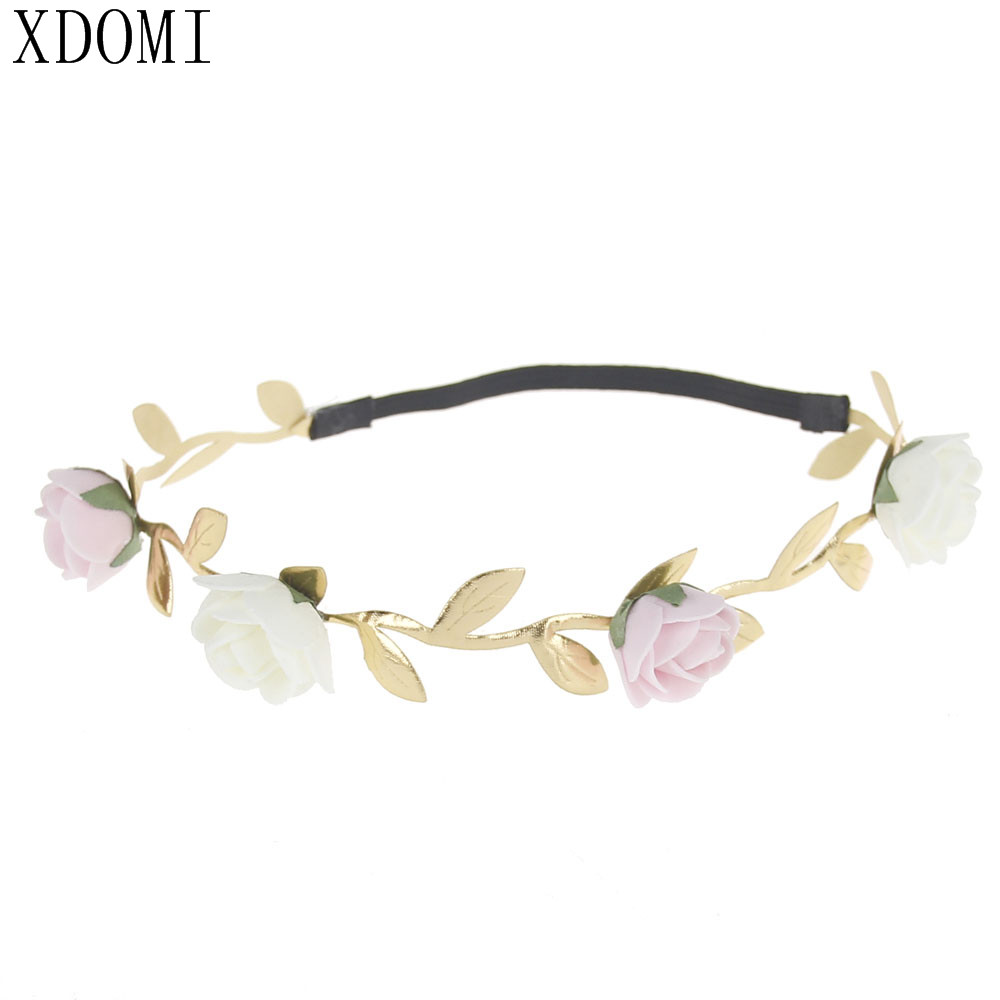 Hot sales Kids/children''s Hair Accessories Headband Leaf Flower Crown Garland Girls Elastic Wreath for baby Best gift love crown solid hair accessories for women headband elastic bands for hair for girls hair band hair ornaments for kids
