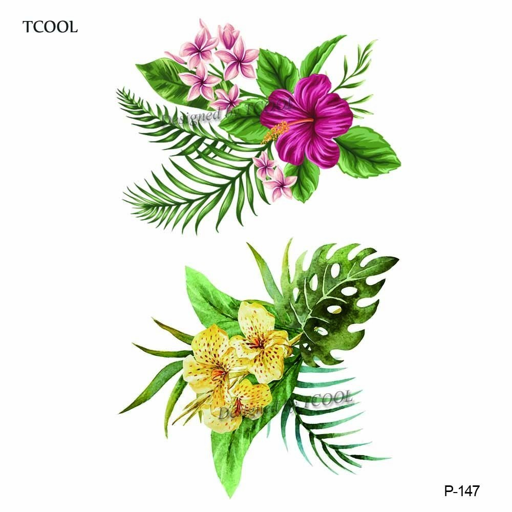 HXMAN Flower Waterproof Temporary Tattoo Sticker Fashion Women Men Arm Fake Body Art 9.8X6cm Kids Adult Hand Tattoos Paper P-147