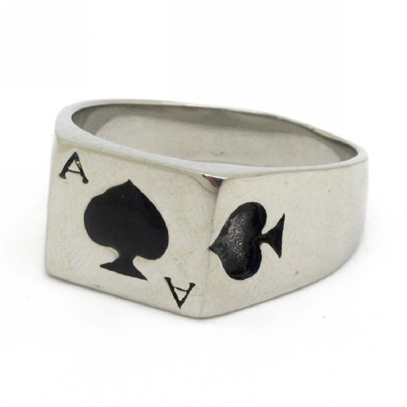 Jewelry Mens Fashion Simple Design Stainless Steel Silver Chunky Spades Poker A Ring Hot