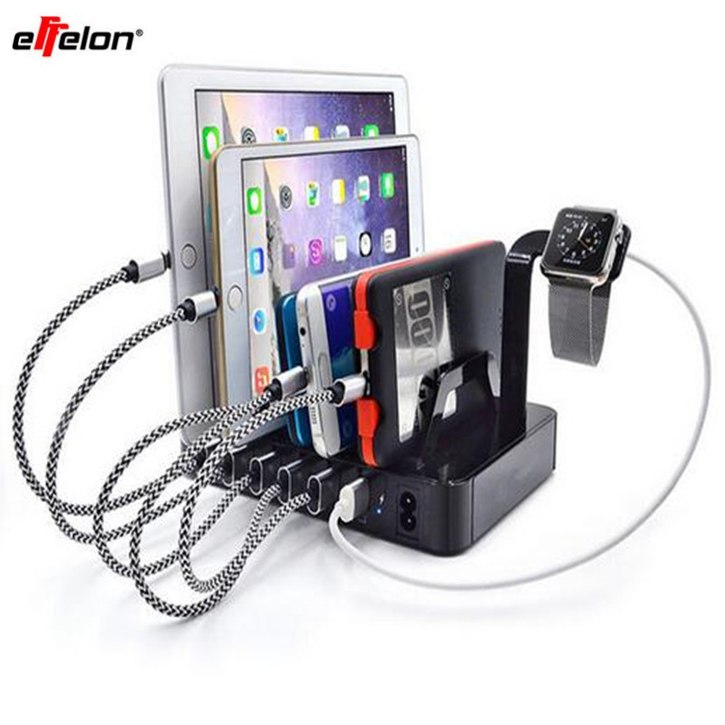 Effelon 6 ports USB Base de charge tablette support de pc support chargeur pour téléphone portable Pad Ipad tablette pour Iphone Apple Watch