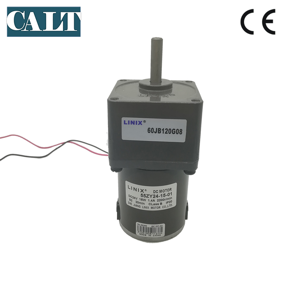 High Quality Linix DC 24V 15W Gear Motor 55ZY24-15-01 8mm Shaft 2200RPM Permanent Magnet Reduction DC Motor цены