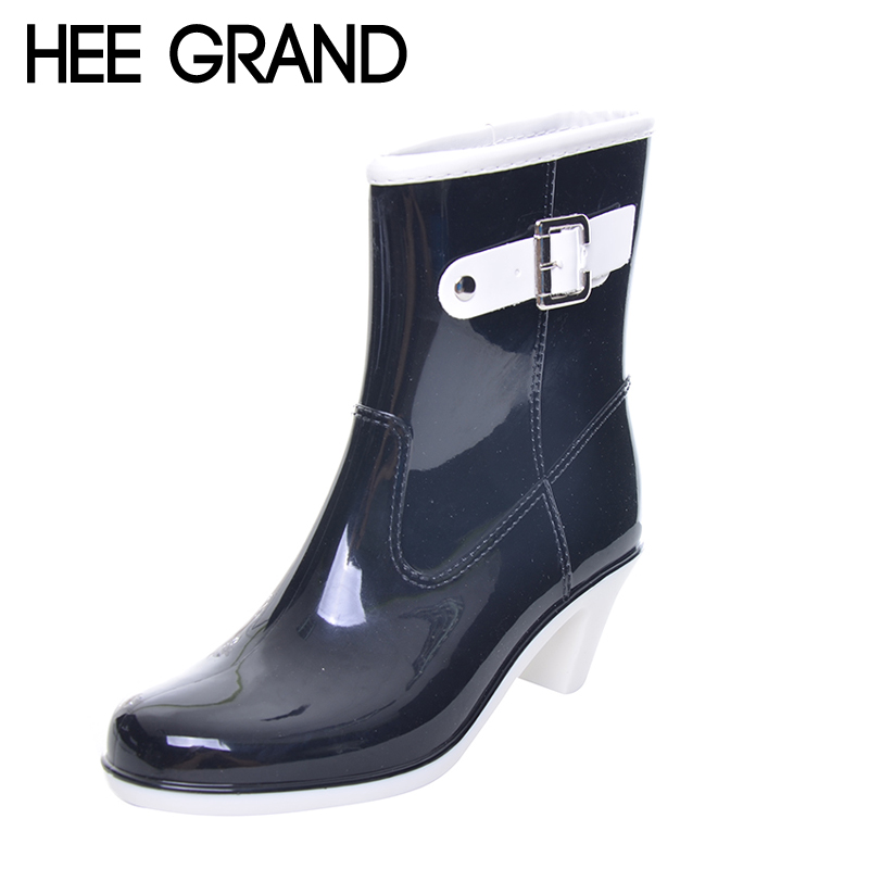 HEE GRAND Buckle Design Woman Rainning Shoes Mid-calf Women RainBoots Fashion Rubber Waterproof Thick Heel Boots XWX2952 casual women s mid calf boots with metallic buckle and suede design