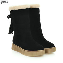 QZYERAI New arrival winter plush warm snow boots women flat tasseled shoes size 34-43