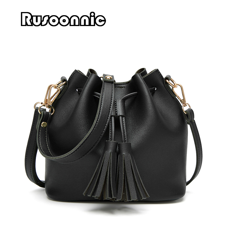 Women Leather Handbags Bucket Bag Women Tassel Shoulder Bag Messenger Bags Handbag sac a main bolsa feminina kzni genuine leather bag female women messenger bags women handbags tassel crossbody day clutches bolsa feminina sac femme 1416