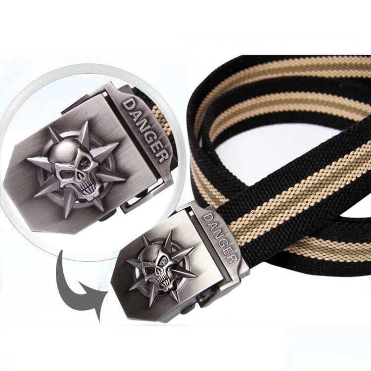 2017 Mens fashion casual canvas belt luxury military jeans skulls pattern pop belts for men Army Green black stripes110 120cm