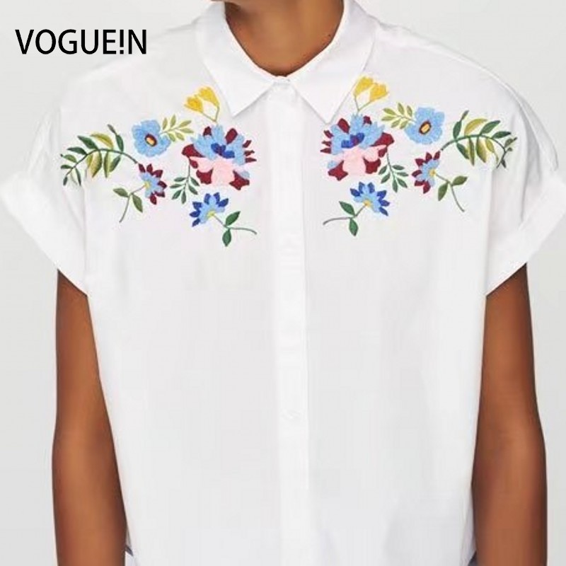 c8416c5f VOGUEIN New Womens Floral Leaf Embroidered Short Sleeve Button Down ...