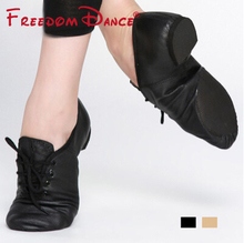 цена на Quality Pig Leather Lace-Up Jazz Dance Shoes Soft Ballet Jazz Dancing Sneakers Black Tan Colors Unisex Free Shipping