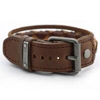 Vintage Mens Cowhide Strap Cool Wristband 2 2cm Width Punk Charm Bracelet Women Stainless Steel Buckle