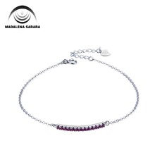 MADALENA SARARA AAAA Zircon Inlaid S925 Drilled Chain Girls Bracelet Sterling Silver Linked Two Options