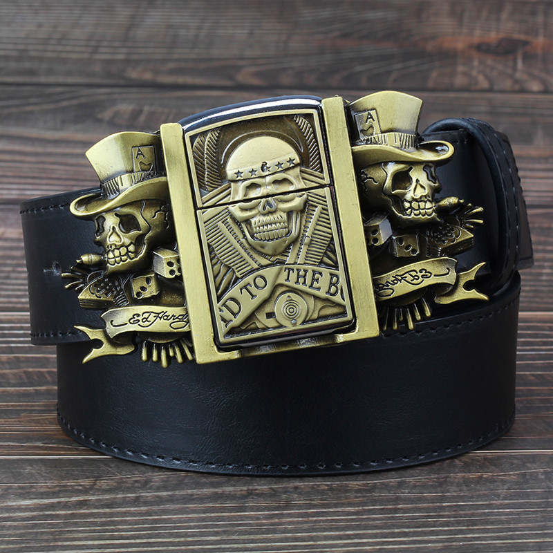 Men's Belt with lighter Golden skull lighter belt buckle metal lighters Kerosene lighter belt for men gift
