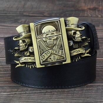 Men's Belt with lighter Golden skull lighter belt buckle metal lighters Kerosene lighter belt for men gift цена 2017