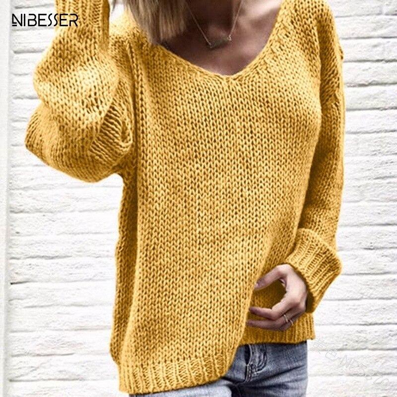 NIBESSER col en V femmes chandails et pulls tricotés automne Hiver vêtements Pull Pull Pull Hiver Truien Dames