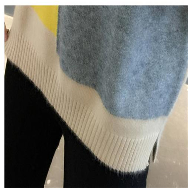 Contrast Color Winter Sweater Women 2018 Jumper Women Sweater Long Sleeve  and Pullover Knitted Sweater Female Pull Femme CQ2258