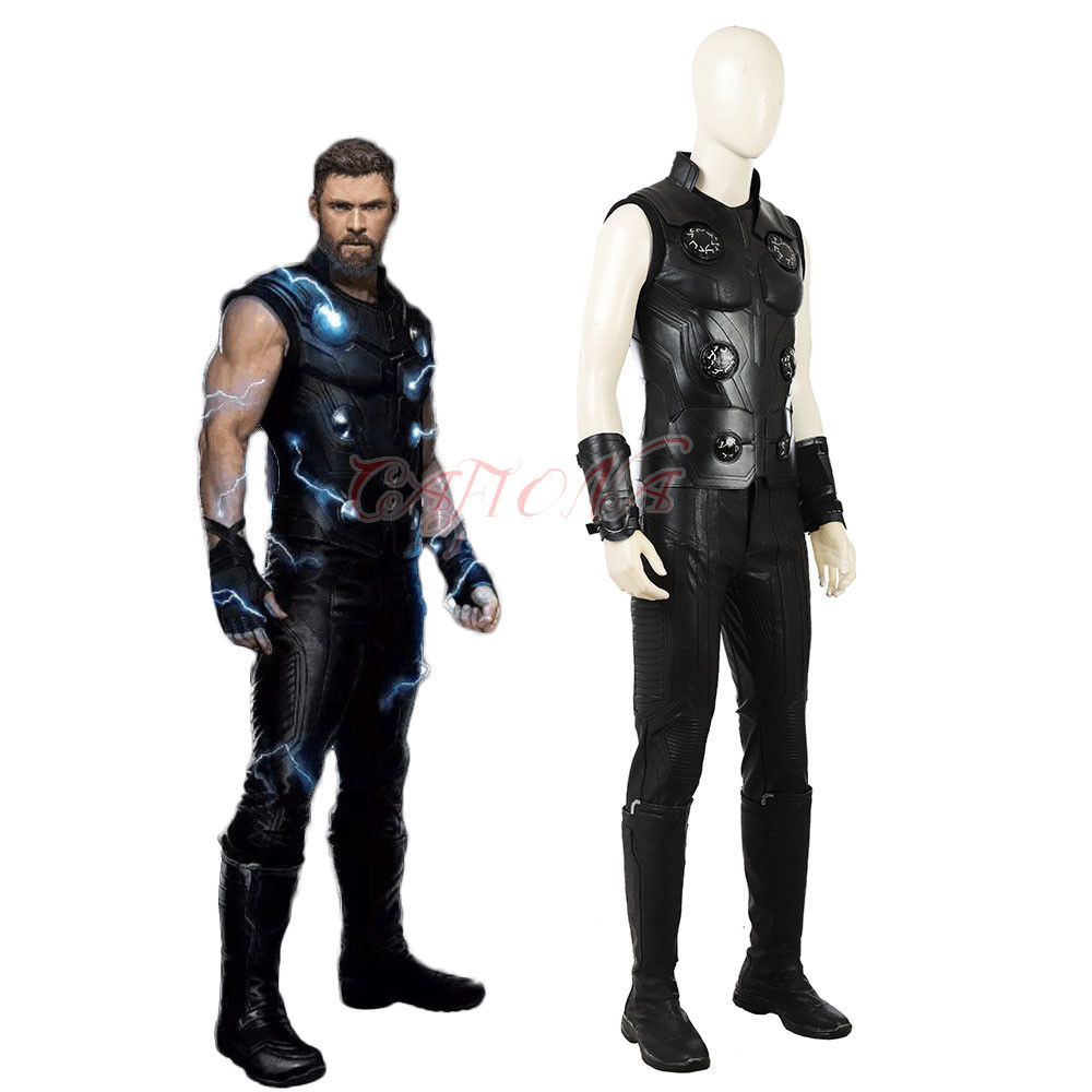 Cafiona 2018 Avengers Infinity War Thor Odinson Cosplay Costume Cool Man Outfits