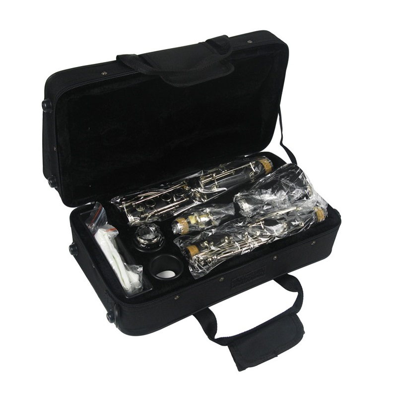 Bb clarinet with black clarinet case falling tune B clarinet, drop B 17 key nickel plated playing wind instrument silver nickel plated double french horn f bb 4 keys with case