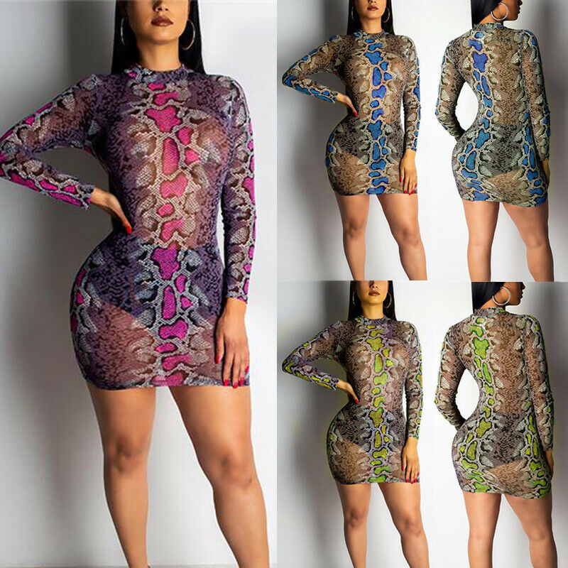 <font><b>Sexy</b></font> Women Summer Long Sleeve Turtleneck Mesh Sheer <font><b>Bodycon</b></font> Short Mini <font><b>Dress</b></font> Ladies Snake Print Evening Party Beachwear <font><b>Dresses</b></font> image