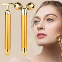 2in1 Facial Massager Slimming Face roll 24k Gold Color Vibration Beauty Roller Stick Skin Wrinkle Lift Bar Grip
