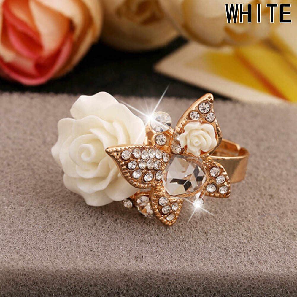 Anillos ajustables de flores para mujer, joyería elegante de mariposa a la moda, anillos de bisutería para mujer, anillos de cóctel para boda