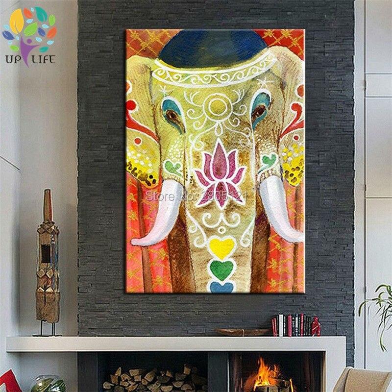 Peint à la main coloriage thaïlande éléphant toile peinture à l'huile le style de l'asie du sud-est éléphant mur art décoration de la maison