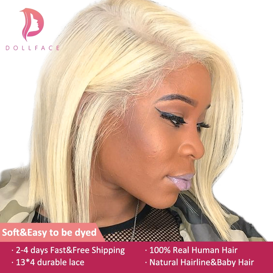 4x13 Lace Front Human Hair Wigs 613 Blonde Short Bob Straight Brazilian Remy Hair Pre plucked