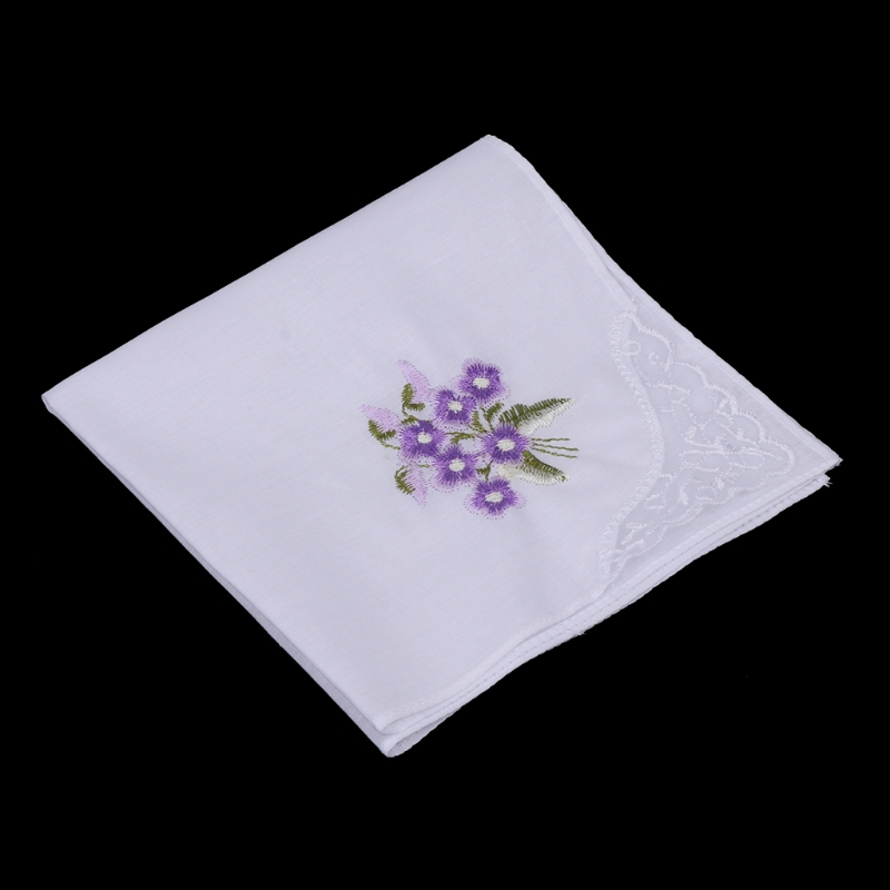 KLV6 Pcs/Set Women Handkerchief Floral Embroidered Ladies Hankies With Blend Cotton