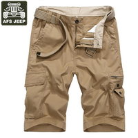 AFS JEEP Brand Cargo Shorts Men Denim Shorts Straight Fashion Bermudas Masculina De Marca Multi Pockets