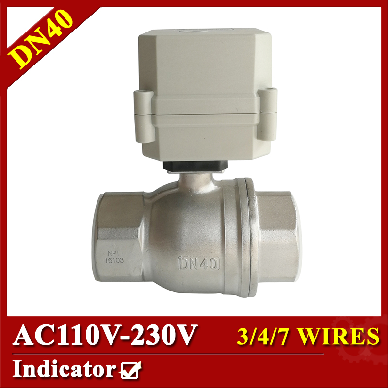 Tsai Fan electric valve AC110V-230V 1 1/2'' SS304 Motorized Ball Valve DN40 Electric ball valve 3/4/7 wires with indicator