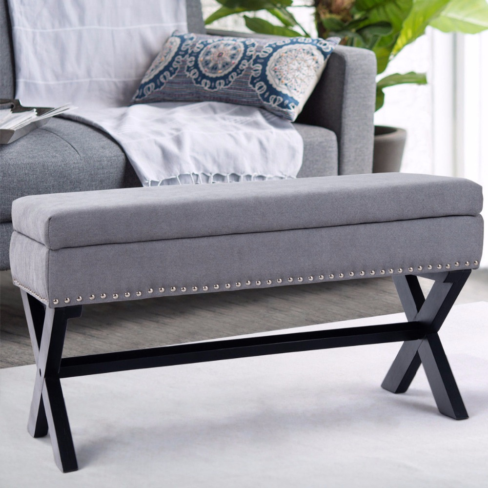 Giantex Storage Bench Ottoman Fabric X Solid Wood Legs Brass Bedroom Entryway Living Room Furniture HW57459