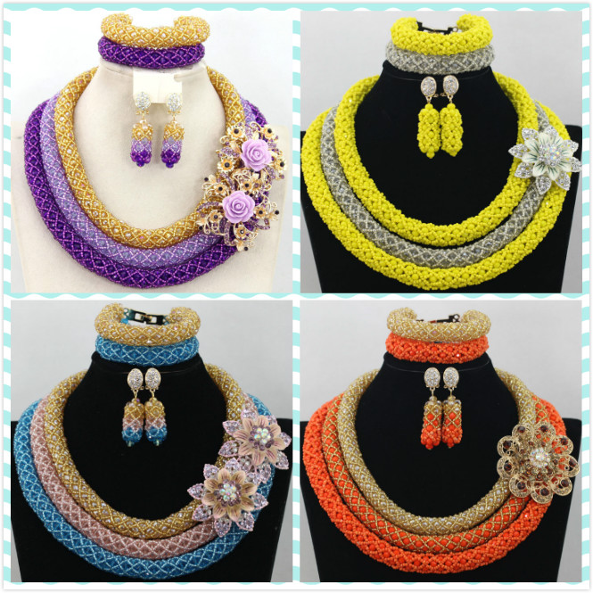 Delicate 3 Layers Gold Coral Nigerian Wedding African Beads Necklaces Dubai Coral Beads Bridal Christmas Necklaces