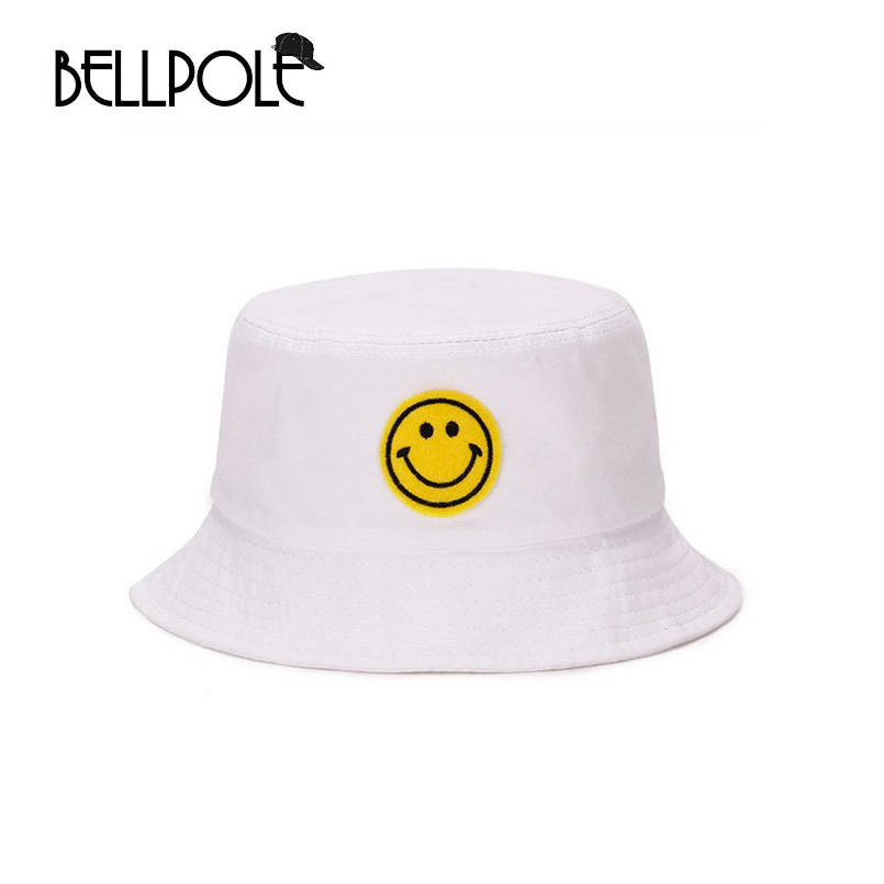 [EB] 2017 Smile Bucket Hat Unisex Fashion Bob Caps Hip Hop Gorro Men Women Summer Caps Beach Sun Bucket Hat White Black hats