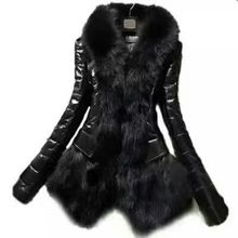 new Autumn and winter womens fox fur imitation PU stitching coat hem big hair collar long