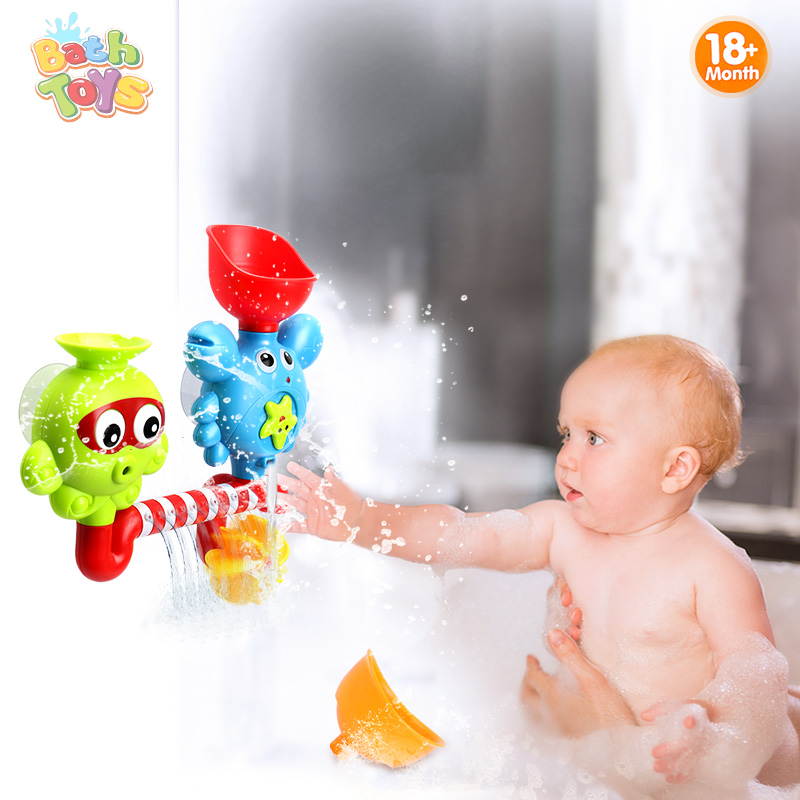 Kids Bath Toy Tub Octopus & Crabs Bath Play Set Plastic Bath Toys Rotate Eyes Water Flow Waterfall Shower Toy Gift For Children