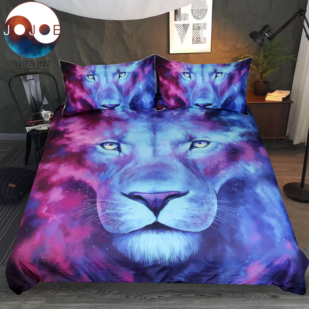 Firstborn by JoJoesArt Bedding Set Psychedelic Lion Duvet Cover With Pillowcase Blue and Red Bed Set 3pcs Watercolor Bedclothes