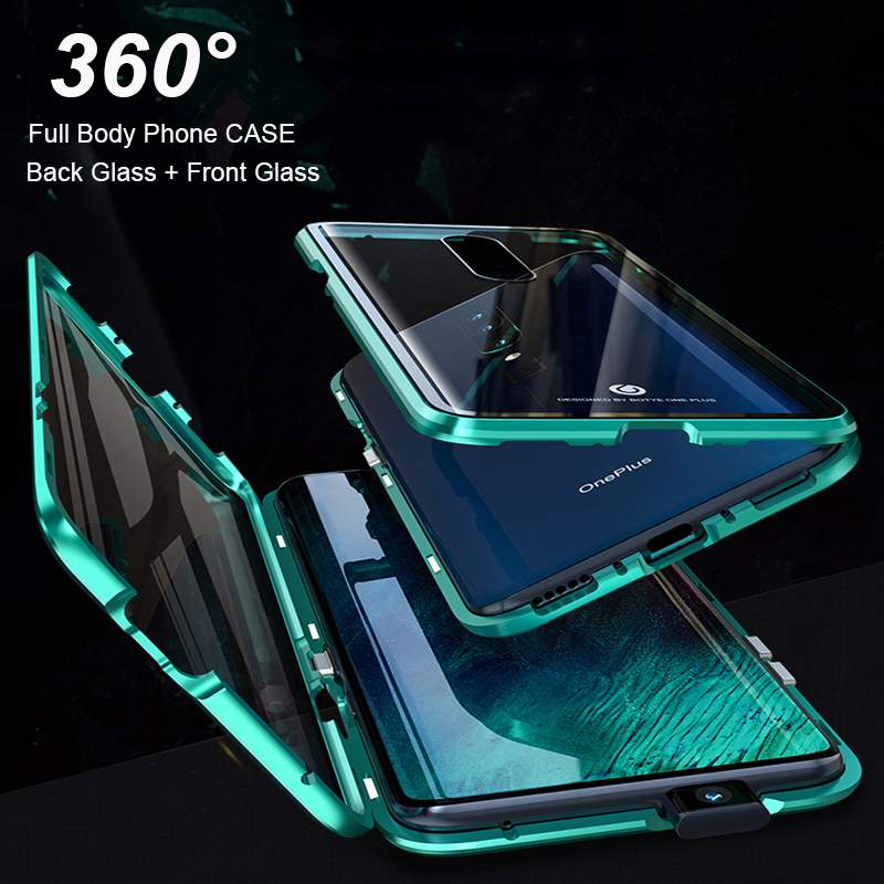hot sale online bf417 64b52 US $10.01 29% OFF|Full Body Cover Case For Oneplus 7 Pro Magnetic Case For  One Plus 7 Pro Case Front+Back double sided 9H Tempered Glass Case-in ...