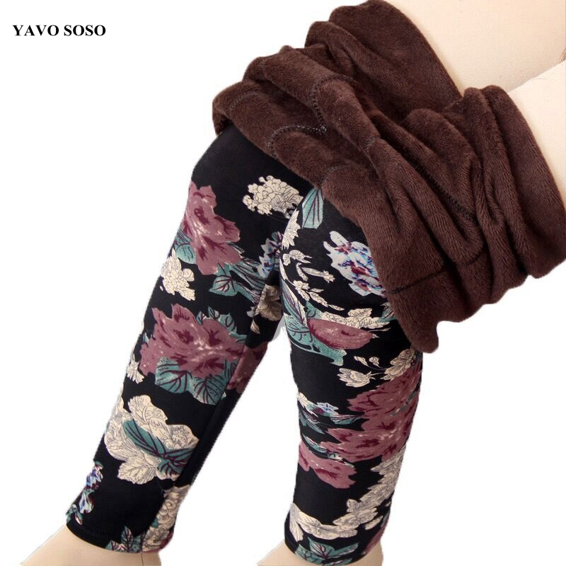 YAVO SOSO  Autumn Winter Style Plus Velvet Warm Leggings Women Plus Size XXXL Printing Flowers Casual Stretch Women's Pants
