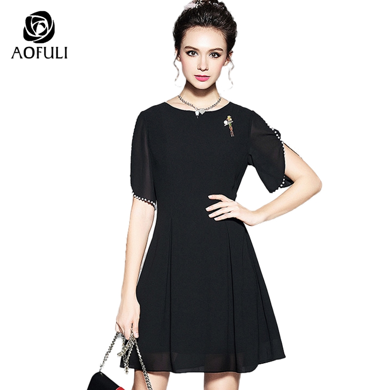 5xl Women Pearl Beaded Off Shoulder Dress With Parrot Brooch Summer Fashion Solid Dress Plus Size Office Ladies Sundress 5106 S Women's Clothing