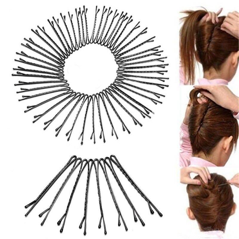 60Pcs Waved Grip Metal Hair Women Hairpin Bobby Pin Clip Barrette